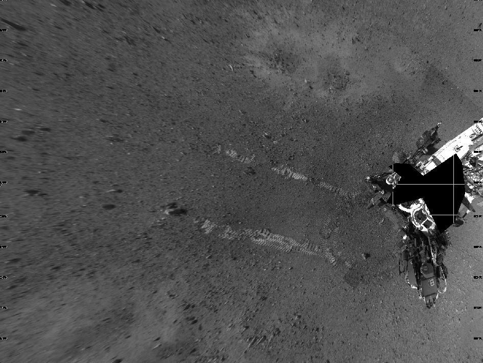 Curiosity widok śladów jazdy z góry