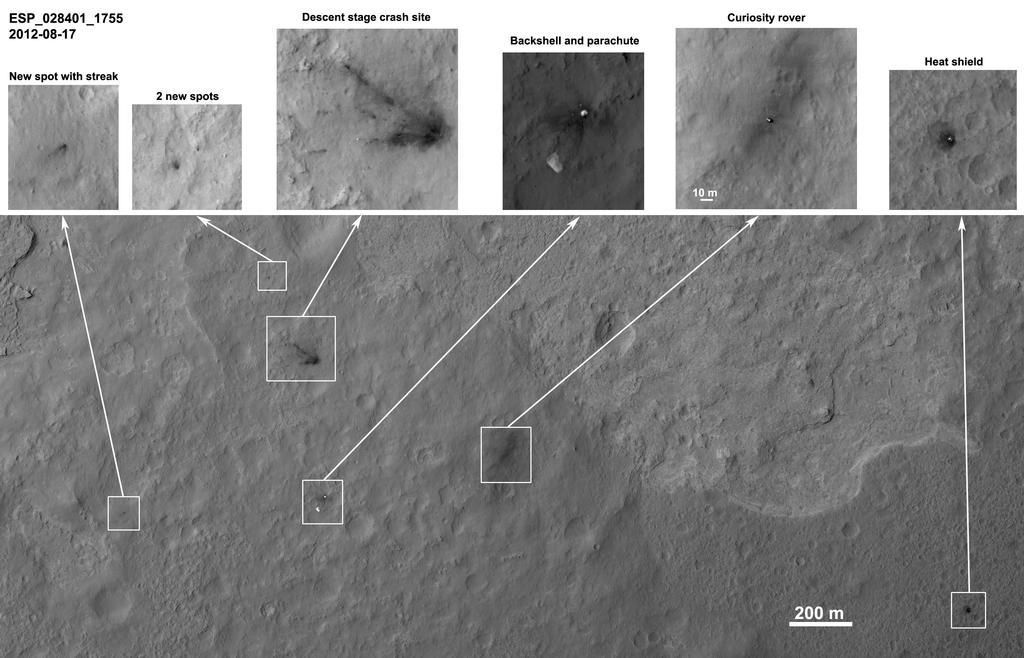Curiosity - miejsce lądowania i poszczególne części lądownika