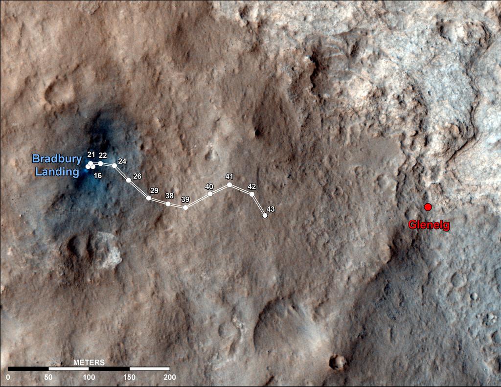 Curiosity - mapa trasy łazika