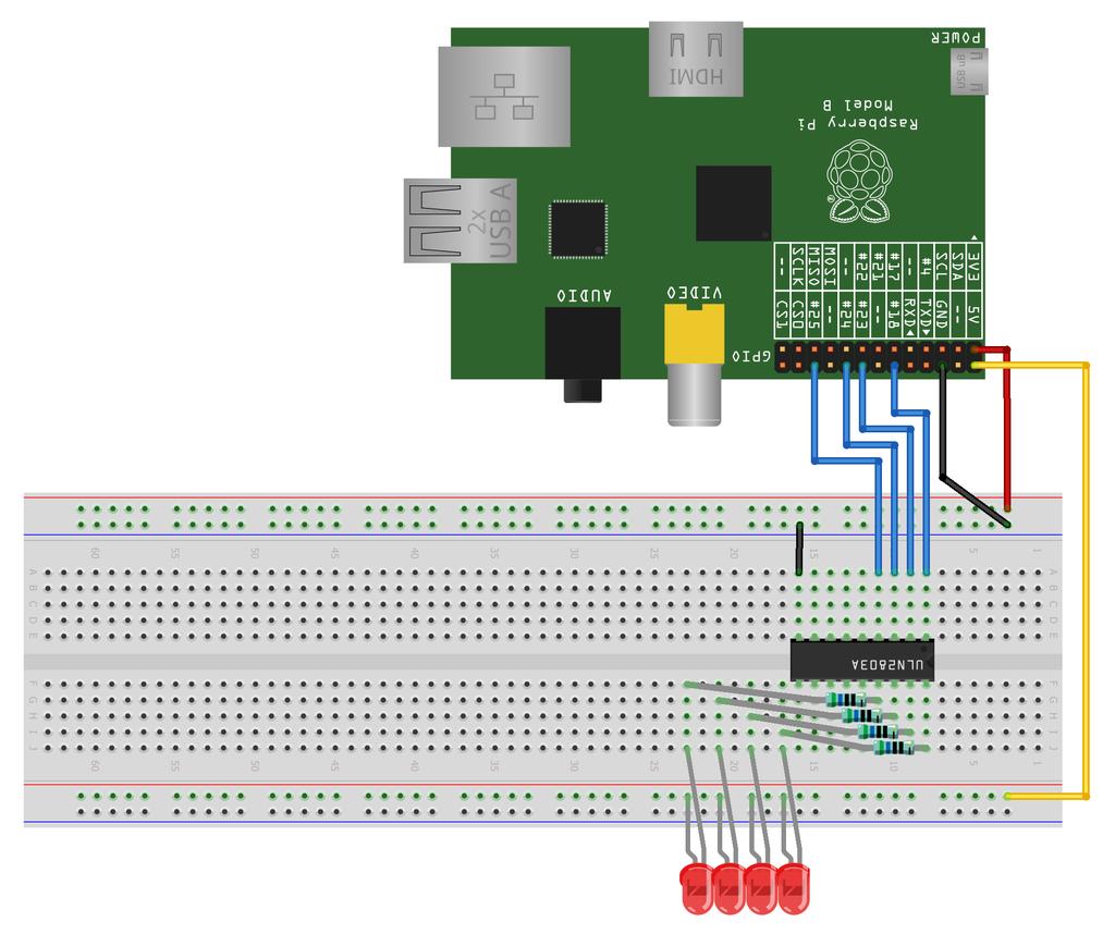 Raspberry Pi - schemat montażowy 4 diód