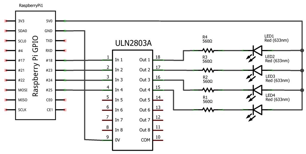 Raspberry Pi - schemat elektroniczny 4 diód